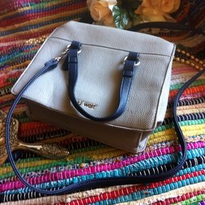 Nine West Gray, White & Blue Crossbody Bag